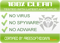 100% clean certified by FreeSoft4Down.com